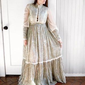VTG Gunne Sax Paisley Sage Long Sleeve Maxi Dress